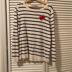 LOFT Stripe Heart Pullover Sweater Sz L